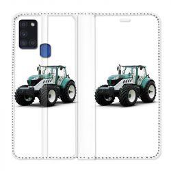 Housse cuir portefeuille pour Samsung Galaxy A21S Agriculture Tracteur Blanc