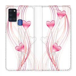 Housse cuir portefeuille pour Samsung Galaxy A21S COeur Rose Montant sur Blanc