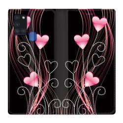 Housse cuir portefeuille pour Samsung Galaxy A21S COeur Rose Montant sur Noir