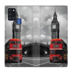 Housse cuir portefeuille pour Samsung Galaxy A21S Angleterre London Bus