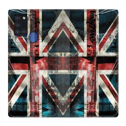 Housse cuir portefeuille pour Samsung Galaxy A21S Angleterre UK Jean's