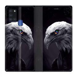 Housse cuir portefeuille pour Samsung Galaxy A21S Aigle Royal Noir
