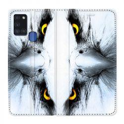 Housse cuir portefeuille pour Samsung Galaxy A21S Aigle Royal Blanc