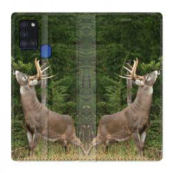 Housse cuir portefeuille pour Samsung Galaxy A21S Cerf