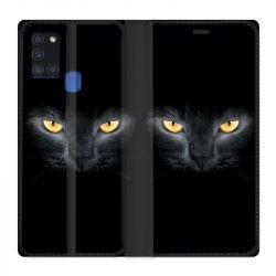 Housse cuir portefeuille pour Samsung Galaxy A21S Chat Noir