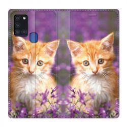 Housse cuir portefeuille pour Samsung Galaxy A21S Chat Violet