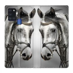 Housse cuir portefeuille pour Samsung Galaxy A21S Cheval Blanc