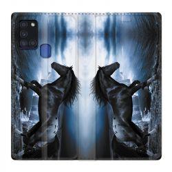 Housse cuir portefeuille pour Samsung Galaxy A21S Cheval Noir