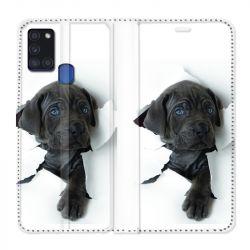 Housse cuir portefeuille pour Samsung Galaxy A21S Chien Noir