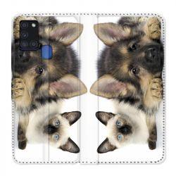 Housse cuir portefeuille pour Samsung Galaxy A21S Chien vs Chat