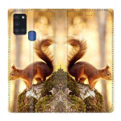 Housse cuir portefeuille pour Samsung Galaxy A21S Ecureuil Bois