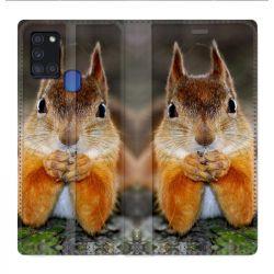 Housse cuir portefeuille pour Samsung Galaxy A21S Ecureuil Face
