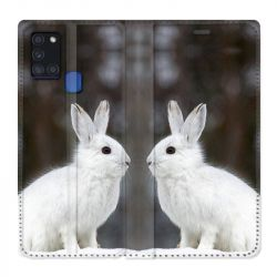 Housse cuir portefeuille pour Samsung Galaxy A21S Lapin Blanc