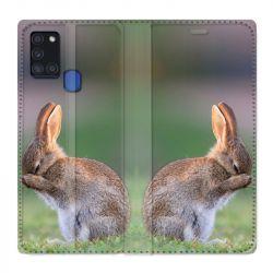 Housse cuir portefeuille pour Samsung Galaxy A21S Lapin Marron