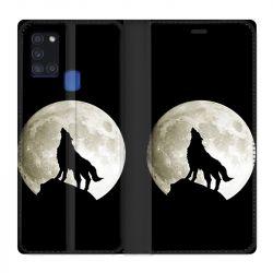 Housse cuir portefeuille pour Samsung Galaxy A21S Loup Noir