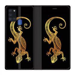Housse cuir portefeuille pour Samsung Galaxy A21S Animaux Maori Lezard Noir