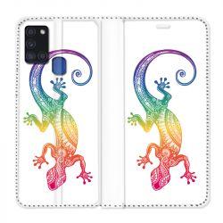 Housse cuir portefeuille pour Samsung Galaxy A21S Animaux Maori Salamandre Color