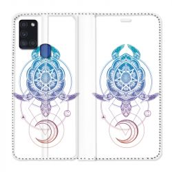 Housse cuir portefeuille pour Samsung Galaxy A21S Animaux Maori Tortue Color