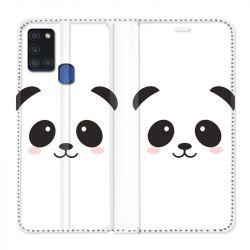 Housse cuir portefeuille pour Samsung Galaxy A21S Panda Blanc