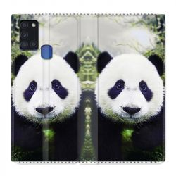 Housse cuir portefeuille pour Samsung Galaxy A21S Panda Color