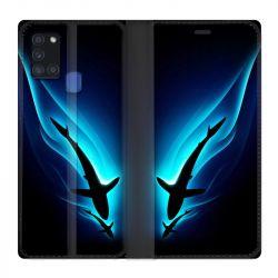 Housse cuir portefeuille pour Samsung Galaxy A21S Requin Noir