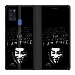 Housse cuir portefeuille pour Samsung Galaxy A21S Anonymous I am free