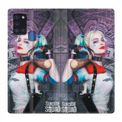 Housse cuir portefeuille pour Samsung Galaxy A21S Harley Quinn Batte