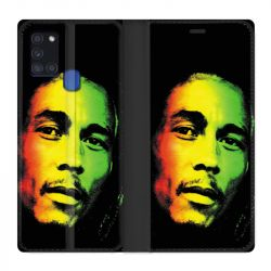 Housse cuir portefeuille pour Samsung Galaxy A21S Bob Marley 2