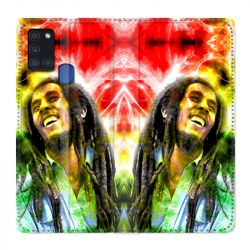 Housse cuir portefeuille pour Samsung Galaxy A21S Bob Marley Color