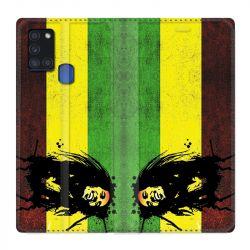 Housse cuir portefeuille pour Samsung Galaxy A21S Bob Marley Drapeau