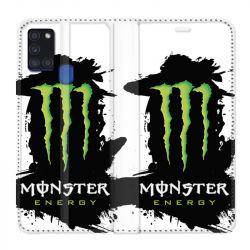 Housse cuir portefeuille pour Samsung Galaxy A21S Monster Energy Tache