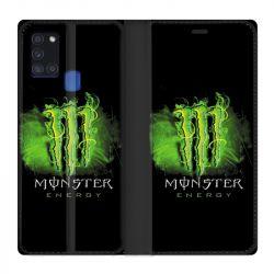 Housse cuir portefeuille pour Samsung Galaxy A21S Monster Energy Vert