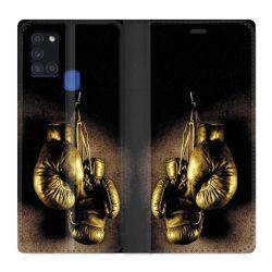 Housse cuir portefeuille pour Samsung Galaxy A21S Boxe Gant Vintage
