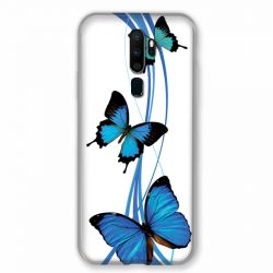 Coque pour Oppo A9 (2020) Papillon bleu sur Blanc