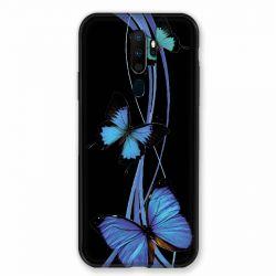 Coque pour Oppo A9 (2020) Papillon bleu sur Noir