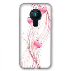 Coque pour Nokia Nokia 5.3 COeur Rose Montant sur Blanc