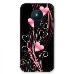 Coque pour Nokia Nokia 5.3 COeur Rose Montant sur Noir