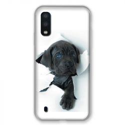 Coque pour Samsung Galaxy A01 Chien noir