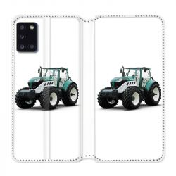 Housse cuir portefeuille pour Samsung Galaxy A31 Agriculture Tracteur Blanc
