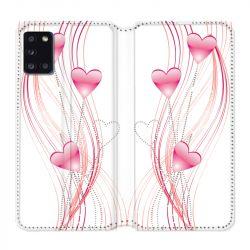 Housse cuir portefeuille pour Samsung Galaxy A31 Coeur Rose Montant sur Blanc