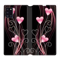 Housse cuir portefeuille pour Samsung Galaxy A31 Coeur Rose Montant sur Noir