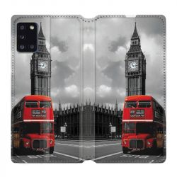 Housse cuir portefeuille pour Samsung Galaxy A31 Angleterre London Bus