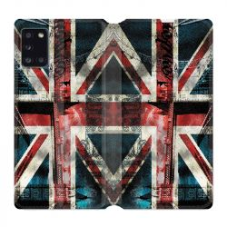 Housse cuir portefeuille pour Samsung Galaxy A31 Angleterre UK Jean's
