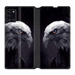 Housse cuir portefeuille pour Samsung Galaxy A31 Aigle Royal Noir