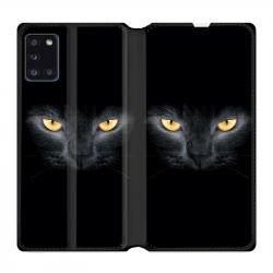 Housse cuir portefeuille pour Samsung Galaxy A31 Chat Noir