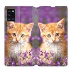 Housse cuir portefeuille pour Samsung Galaxy A31 Chat Violet