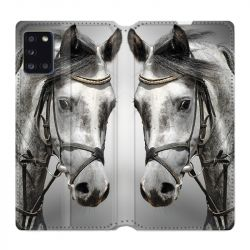Housse cuir portefeuille pour Samsung Galaxy A31 Cheval Blanc