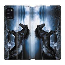 Housse cuir portefeuille pour Samsung Galaxy A31 Cheval Noir