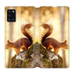 Housse cuir portefeuille pour Samsung Galaxy A31 Ecureuil Bois