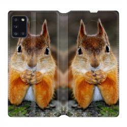 Housse cuir portefeuille pour Samsung Galaxy A31 Ecureuil Face